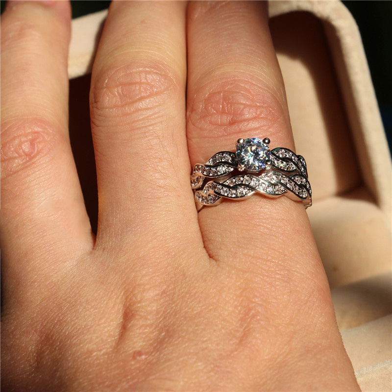 Luxury Shiny AAA Zircon Ring Set for Women Fashion Winding Engagement Wedding Rings Set Jewelry Gift Aneis Feminino US Size 5 12 in Rings from Jewelry Accessories