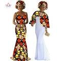 African Print Dress Dashiki Женщин 2 Шт. Набор Оригинальные Мыса и брекеты Dress Maxi Dress Плюс Размер Женщин Одежда Давно BRW WY140