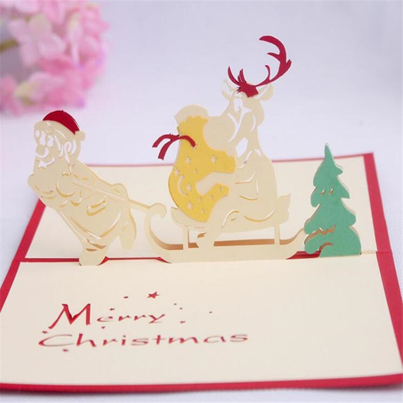 Reindeer Christmas Cards.Us 2 26 20 Off 1pcs 3d Pop Up Holiday Greeting Cards Snowman Jesus Reindeer Christmas Thanksgiving 2016 Fashion New Style In Cards Invitations