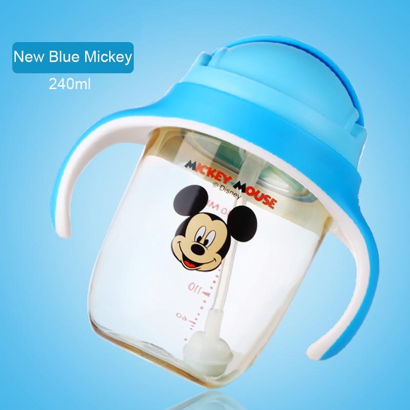 Disney 240ml Water Bottle With Handle BPA Free Leak Proof Tritan Mickey Deisgn Infant Bottle Mickey Baby Bottle Feeding