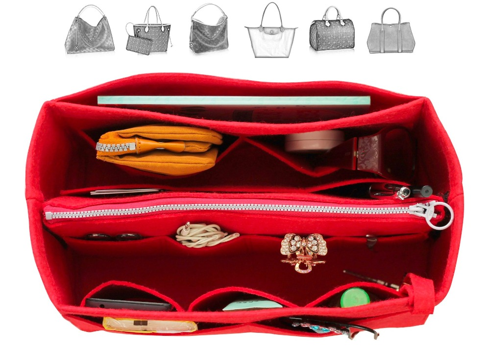Customizable Felt Tote Organizer (w/ Detachable Zipper Bag) Neverfull MM GM PM Speedy 30 25 35 40 Purse Insert Diaper Bag