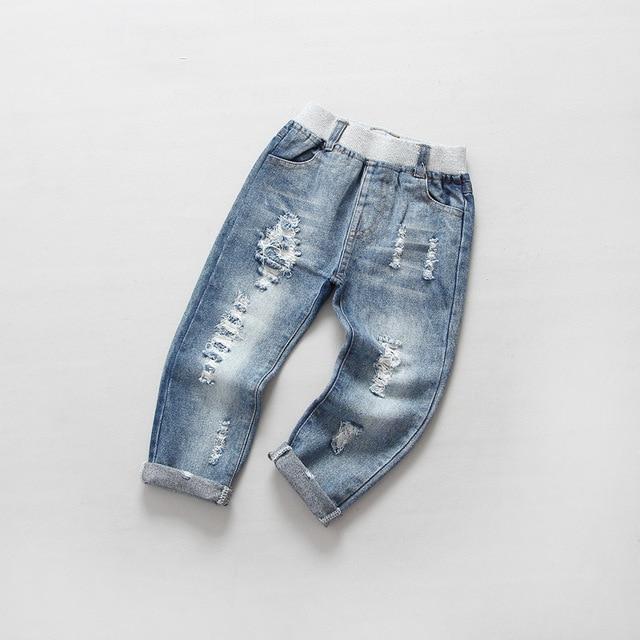 Moda Niños Chicas Jeans Rasgados Pantalones Bolsillos Vendimia Suave ...