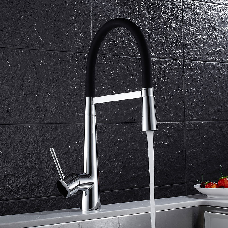 Swivel Pull Out Kitchen Faucet Chrome and Black Sink Mixer Tap 360 degree rotation torneira cozinha mixer taps Kitchen Tap