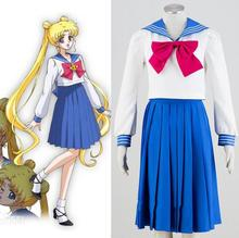 Sailor Moon Tsukino Usagi School Uniform Sailor Suit Tops Dress Outfit Anime Cosplay Costumes цена