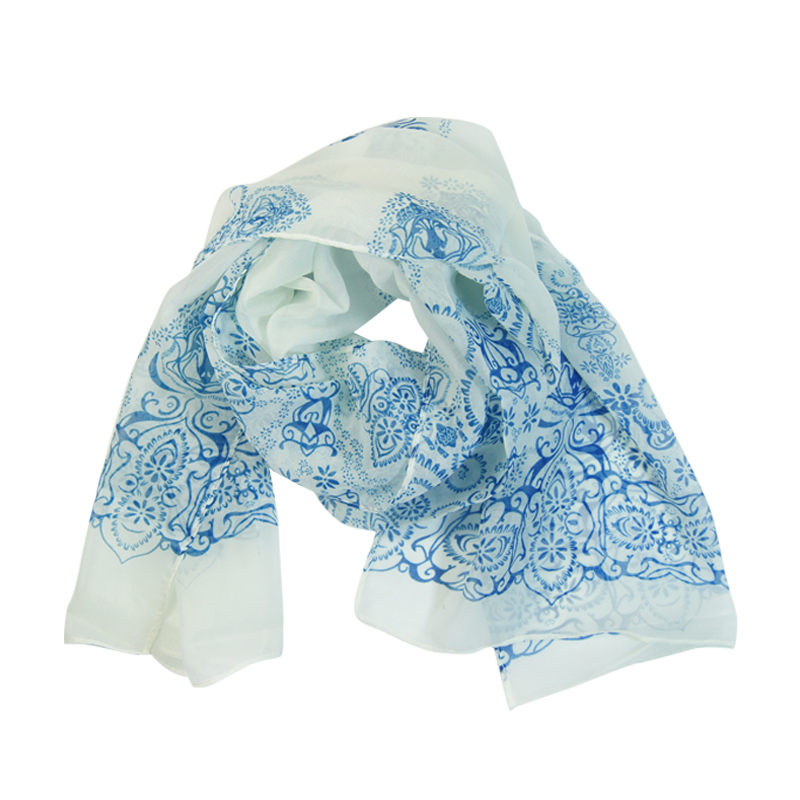 New Fashion Blue and White Chiffon Thin Women Ladies Scarf Neck Shawl Scarf Scarves Wrap Stole Warm Women Scarf Shawl