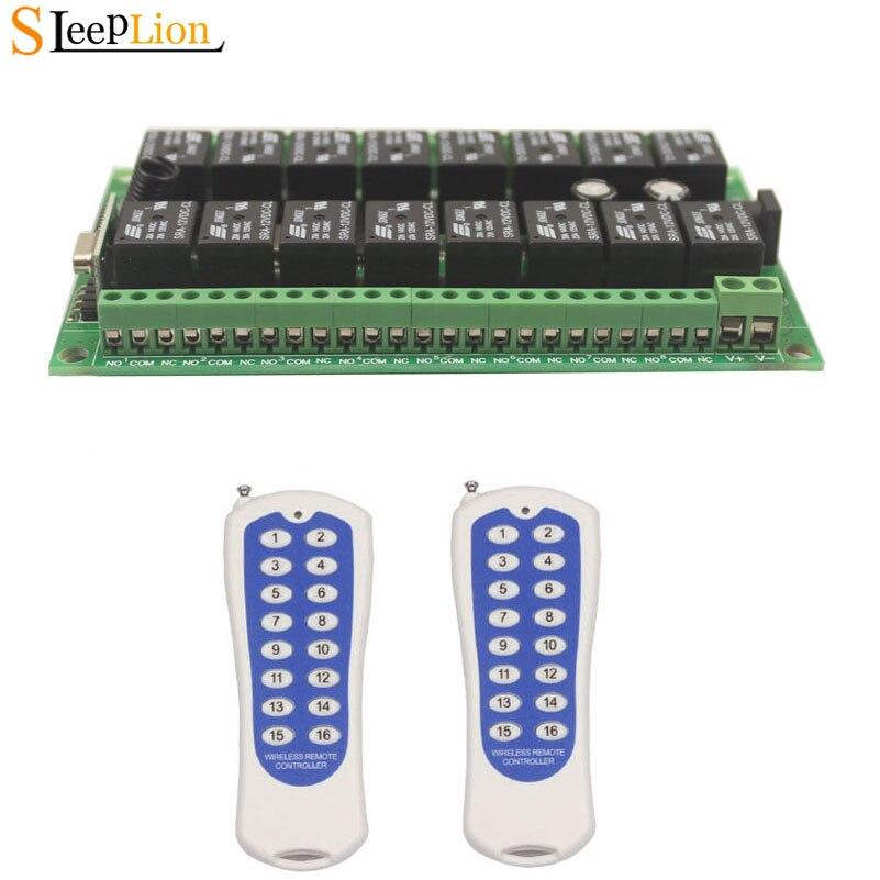 Dormeur DC 12 V 24 V 16 CH RF télécommande sans fil système de commutation 2 transmetteur + récepteur 16CH Module relais 315/433. 92 MHZ