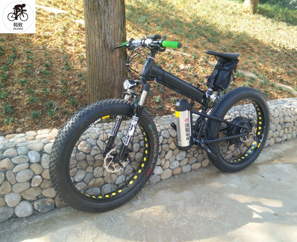 22ab3fedea8 Kalosse Folding frame electrical beach bike 27 speed M4000 48V 1000W electric  fat bike 26*4.0 tires