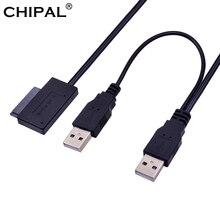 CHIPAL USB 2.0 ila 6 7 13Pin ince ince SATA kablosu harici USB2.0 güç kaynağı dizüstü bilgisayar için CD ROM DVD ROM tek