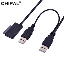 CHIPAL USB 2.0 to 6 7 13Pin Slimline Slim SATA Cable with External USB2.0 Power Supply for Notebook Laptop CD ROM DVD ROM ODD