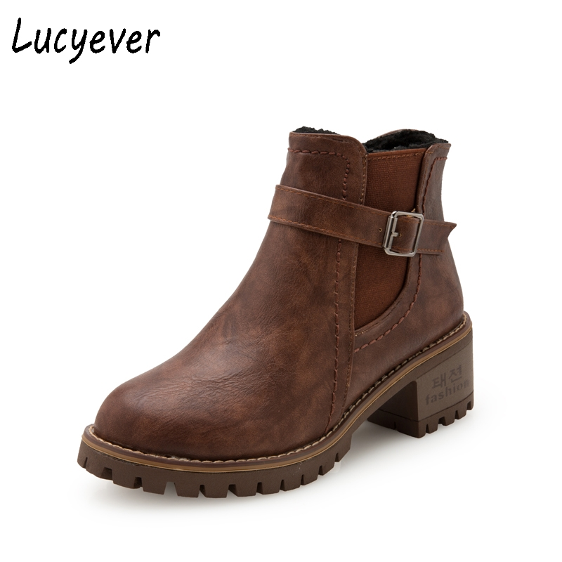 Lucyever Fashion PU Leather Women Martin Boots 2017 British Style Retro Ankle Boots Thick Heels Casual Shoes Woman Brown Black short boots woman the fall of 2017 a new restoring ancient ways british wind thick boots bottom students with martin boots