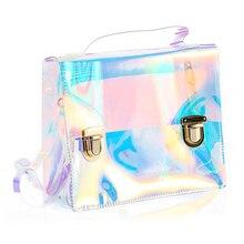 Verano Playa mujeres Bolsa Bolsas Pequeño Bolso de Mano de PVC Transparente Transparente Holograma Bolsos Mujeres Famosas Marca Bolsas Hombro de Las Mujeres
