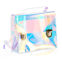 Women Summer Beach Bag PVC Clear Transparent Bags Small Tote Bag Hologram Handbags Women Famous Brand