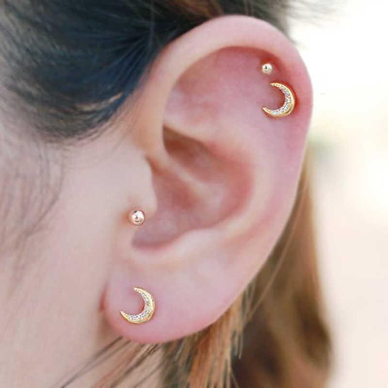 316l Stainless Steel Tragus Cartilage Bar Ear Ring Moon Cz Tragus