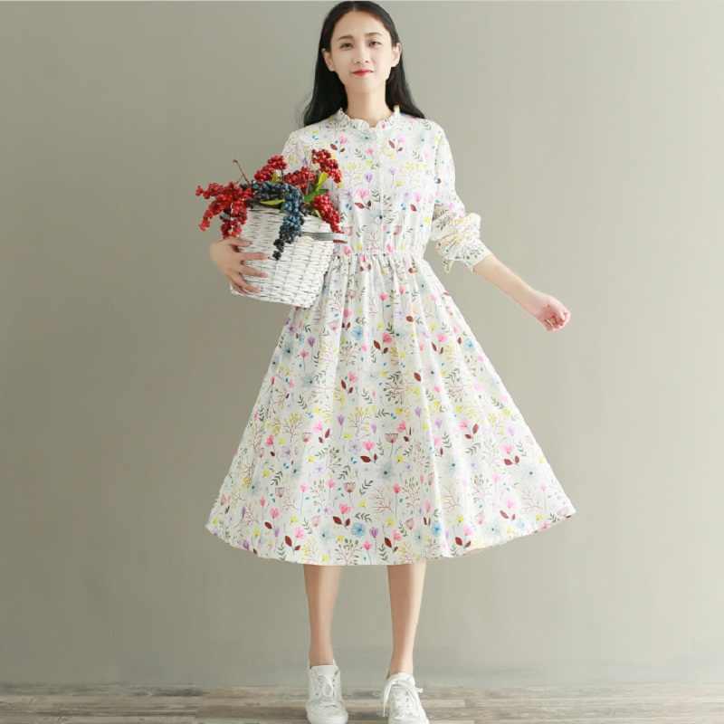 0f889e4d96 ... Sweet Spring Autumn Women Elegant Dress Stand Collar Floral Print  Casual Female Vestidos Full Sleeve Corduroy ...