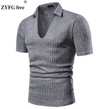 Summer and spring men t-shirt short-sleeved turn-down collar stripe casual t-shirts youth fashion male clothing цена