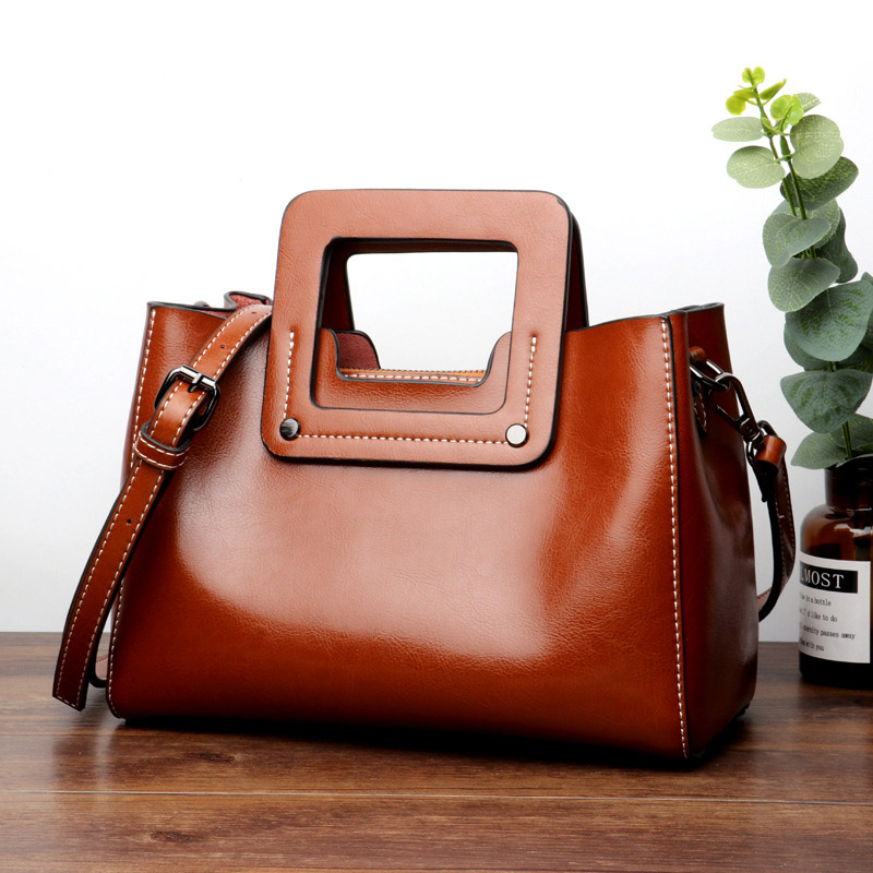 Genuine Leather Totes Women Handbags Big Size Casual Tote Oil Wax Leather Women's Shoulder Bags