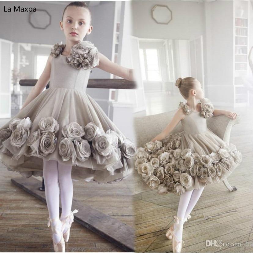 New Gray Rose Children Dress Perform Costume Host Dance Dress Girls Custom-made Birthday Party Dress недорго, оригинальная цена