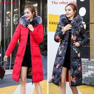 Image 5 - 両側身にすることができ2019新到着の女性の冬毛皮のフード付きでロング女性コート生き抜くプリントパーカー