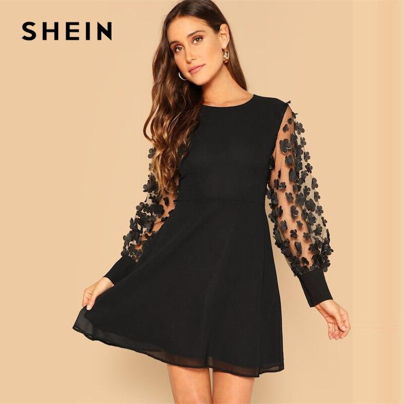 SHEIN черное платье на молнии сзади с контрастной сеткой, с аппликацией и расклешенными рукавами, короткое однотонное платье с круглым вырезо...
