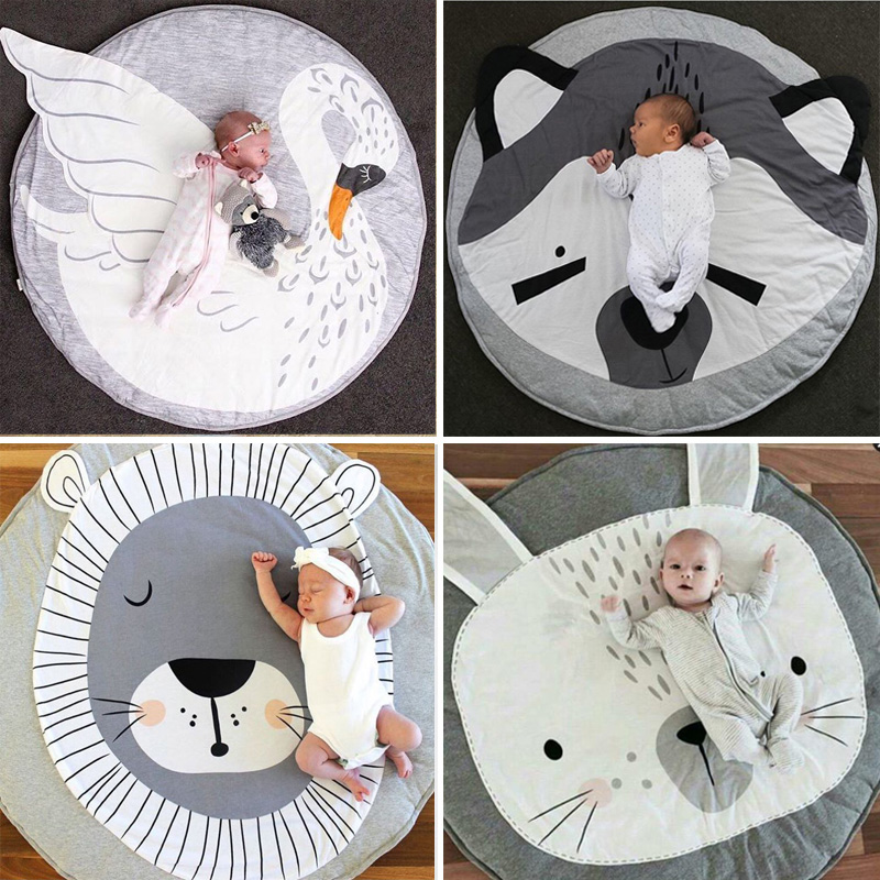 Baby Play Game Mats Round Rugs Cotton Swan Crawling Blanket Floor Carpet For Kids Room Decoration INS Newborn Creeping Pads
