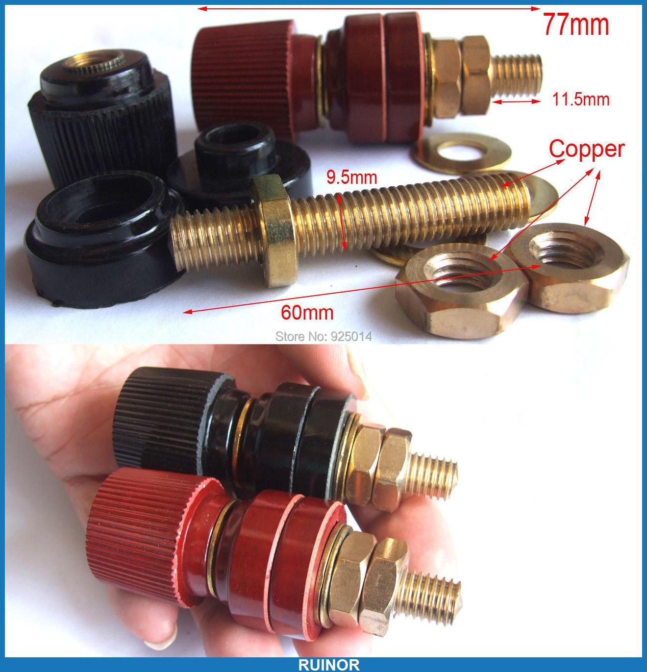 ФОТО 4PCS 300A Amplifier Power High temperature Copper Binding Post Socket Terminals