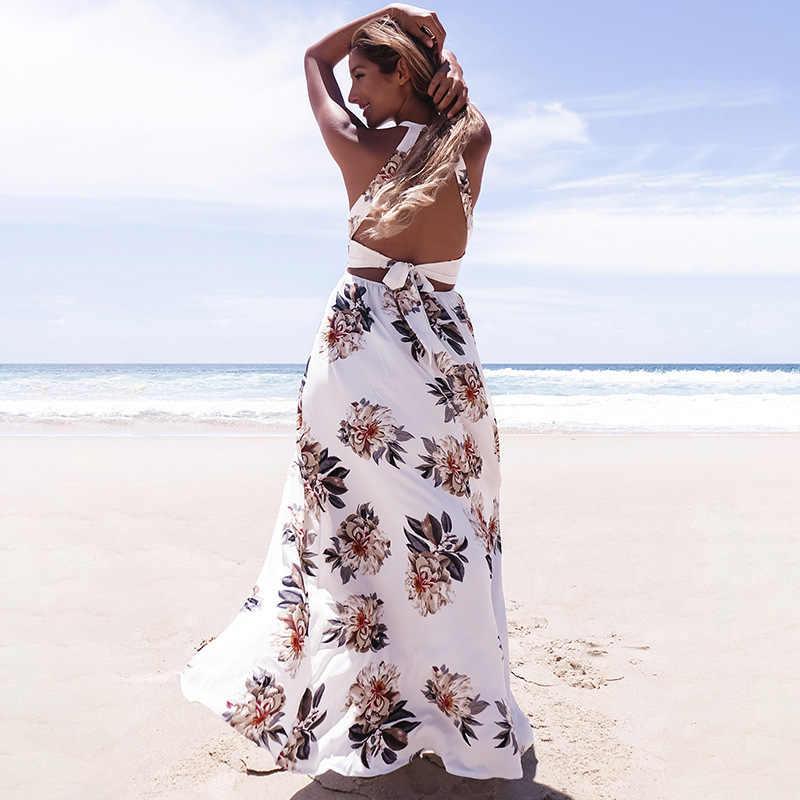 Дропшиппинг цветочный принт Холтер шифон длинное платье для женщин с открытой спиной 2017 макси платья vestidos сексуальный белый Сплит Пляж Лето