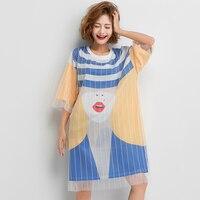 Thai street fashion cartoon print mesh fake two piece t shirt female short sleeved mesh stitching ladies short sleeved T shirt