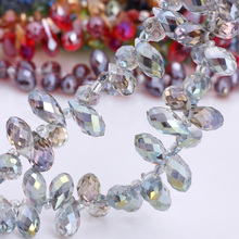 OlingArt Water droplets 6*12MM Austria Crystal Glass Beads charm multiple AB colour Loose Spacer Bead for DIY Jewelry Making