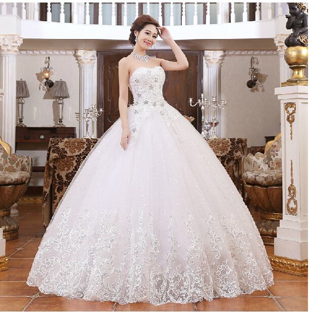 2016 new bride fashion tube top wedding dress, deep v collar studded ...