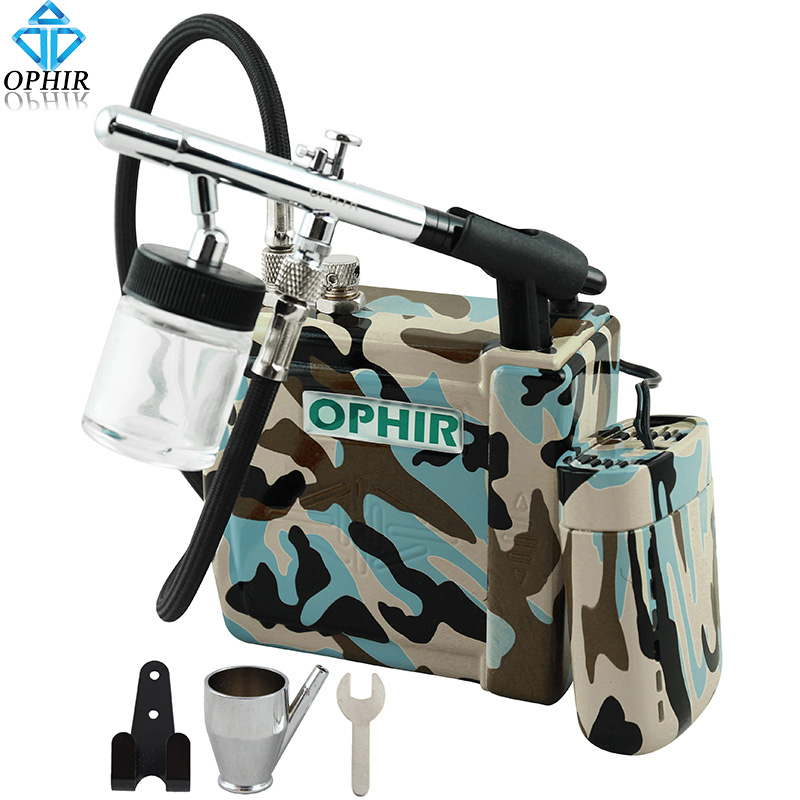 OPHIR 0.35mm Down-Pot Airbrush Kit with Blue Camouflage Mini Air Compressor for Temporary Tattoo/Nail Art/T-Shirt/Model Paint ophir temporary tattoo tool dual action airbrush kit with air tank compressor for model hobby cake paint nail art ac090 ac004