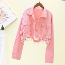 Spring Streetwear Pink Short Denim Jackets Female Beading Hole Jeans Long Sleeve Loose Cowboy Coat