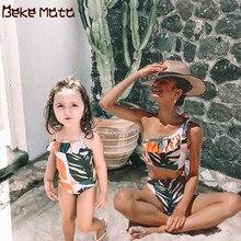 Anne kızı mayolar anne ve bana giysi Set tek parça yaprak baskı aile bak anne Duahgter mayo Bikini banyo takım elbise