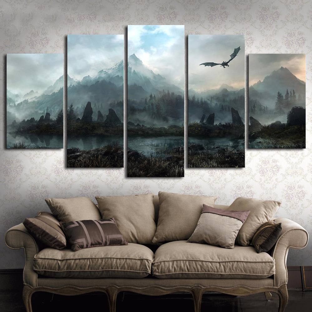 5 Piece HD Wall Art Picture Game Of Thrones Dragon Skyrim