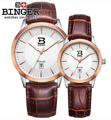 Binger High Grade Fashion Business Leather Watch Designer Lover Quartz Wristwatch Rose Gold Men Ultra Thin