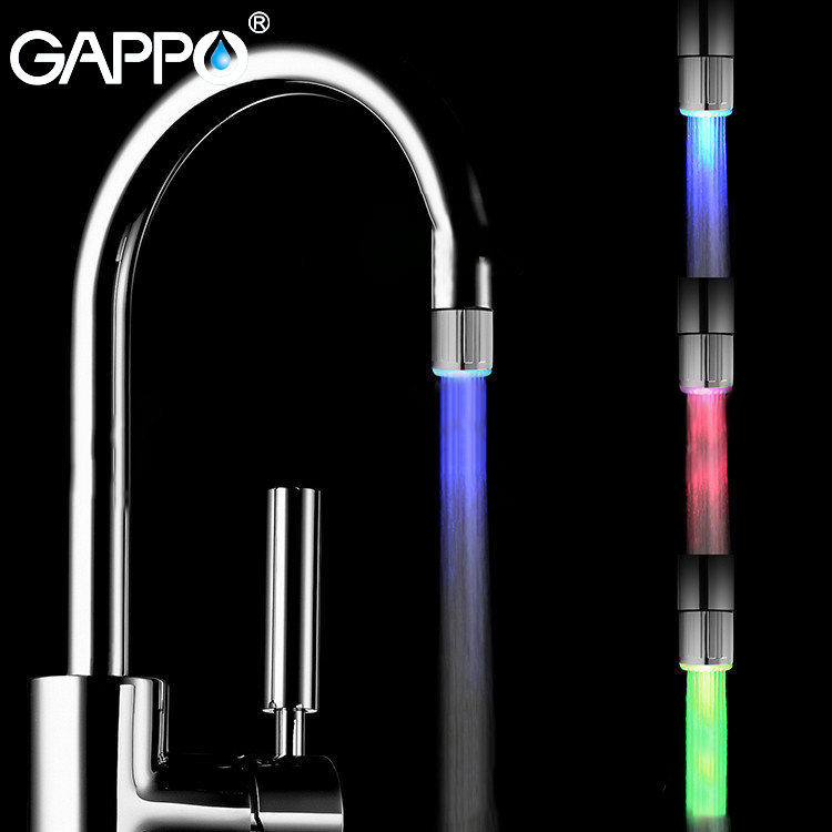 GAPPO Faucet Aerator LED Water Saving Aerator Attachment Chrome Faucet Aerator  Water Mixer Shower Head Nozzle Tap Connector