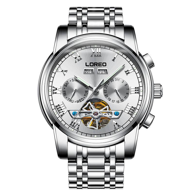 LOREO 6108 Germany watches men luxury brand Tourbillon automatic sapphire hollow luminous waterproof white calendar simple цена