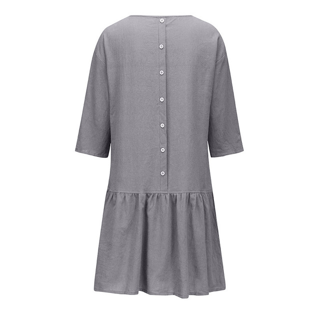 Spring Summer Dress Casual Loose Women O Neck 3/4 Sleeve Ruffle Swing Cotton Solid Color Knee-Length Dress 3