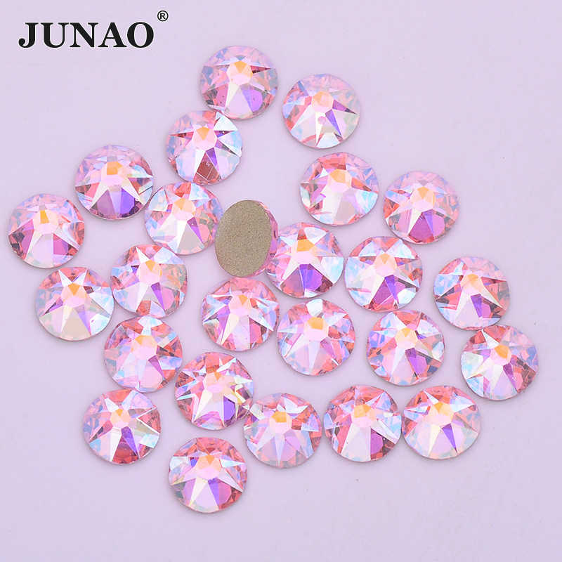 JUNAO 16 coupe facette SS20 rose AB verre ongles Strass Flatback rond cristal pierre visage ongles Art décoration Non Hotfix Strass
