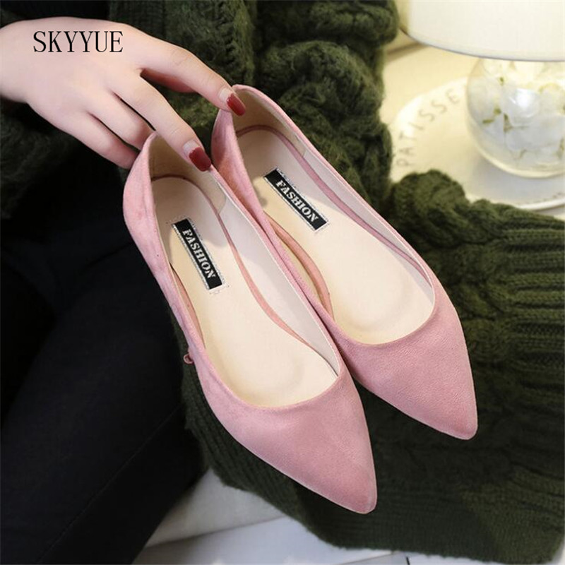 New Women Suede Flats Fashion High Quality Basic Mixed Colors Pointy Toe Ballerina Ballet Flat Slip On Shoes