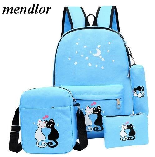 Fashion 4 Set Schoolbag Unisex Korean Rucksack Girl Shoulder Bag Cute Cat Print Backpack for Teenager Travel Backpacks Six Color все цены