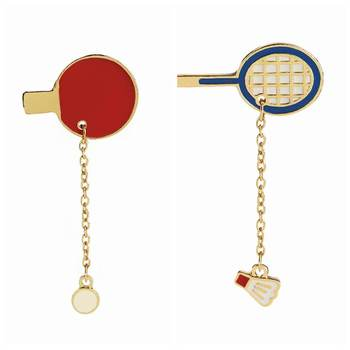 Zhijia Table Tennis Racket Pins Badminton Racket Brooches Pingpong Enamel Brooch Badminton Brooches For Sport Lovers image