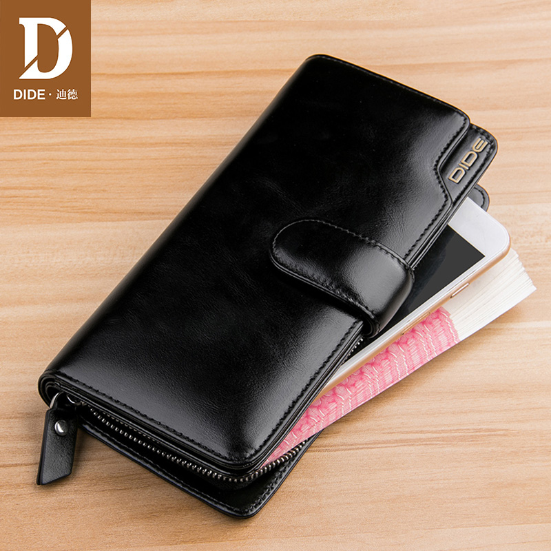 DIDE Ladies genuine leather handbag Black Fashion casual business Female Wallets Purses Long Phone Wallet Clutch Bags DQ736