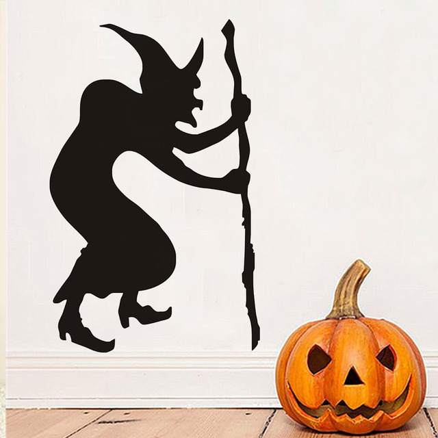 Hunchback Witch Halloween Wall Stickers, Halloween Wall Decals, Witch Of  Silhouette Wallpaper Halloween Decoration