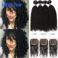 7A Cambodian Kinky Curly Virgin Hair With Closure 4 Bundles Bling Hair Cambodian Virgin Hair With Lace Closure Kinky Curly Hair