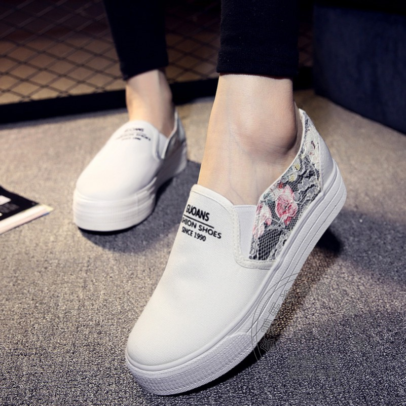 Campus Printing Leather Skimmers Shoes Muffin Shoes font b Women b font Loafers Floral Plimsolls Canvas