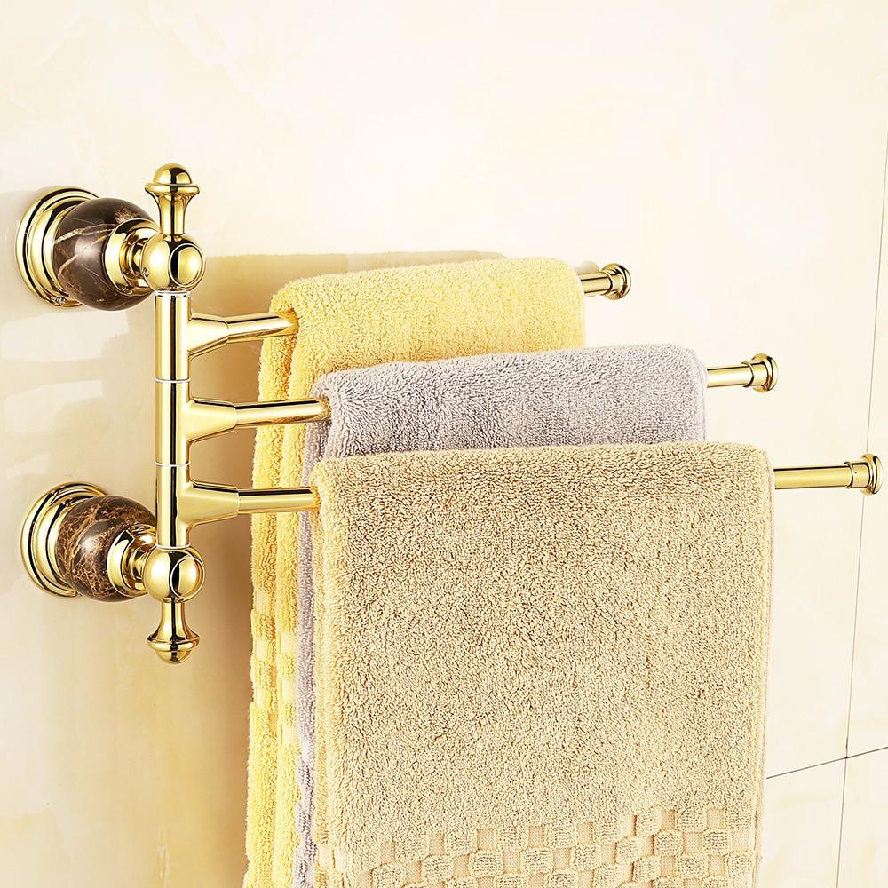 European Bathroom Accessories - European gold diamond moving pole jade towel bar vintage marble rotary activities towel rack holder bathroom