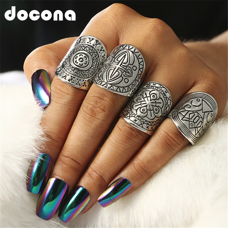 Docona 4pcs Sliver Plated Vintage Rings Set Beach Rings Ethnic Totem Carving Boho Style Rings For Women Charm Jewelry 2591