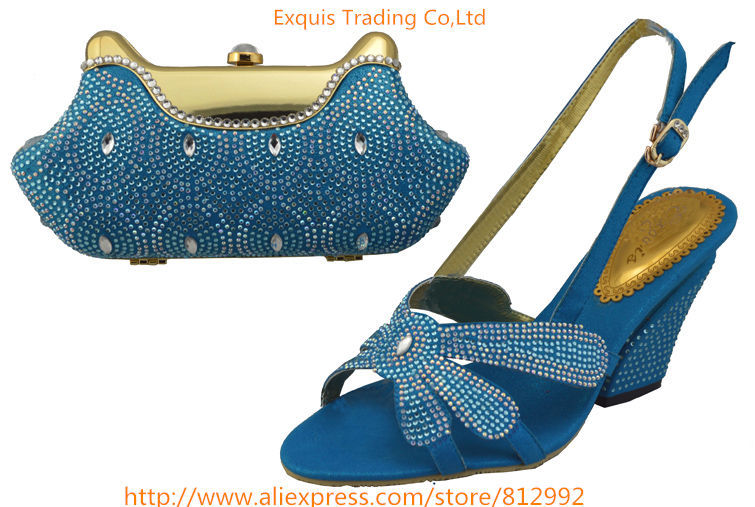ФОТО wholesale italian design shoes with evening bag for African lady high quality 1308-L5 Size 38-43 blue