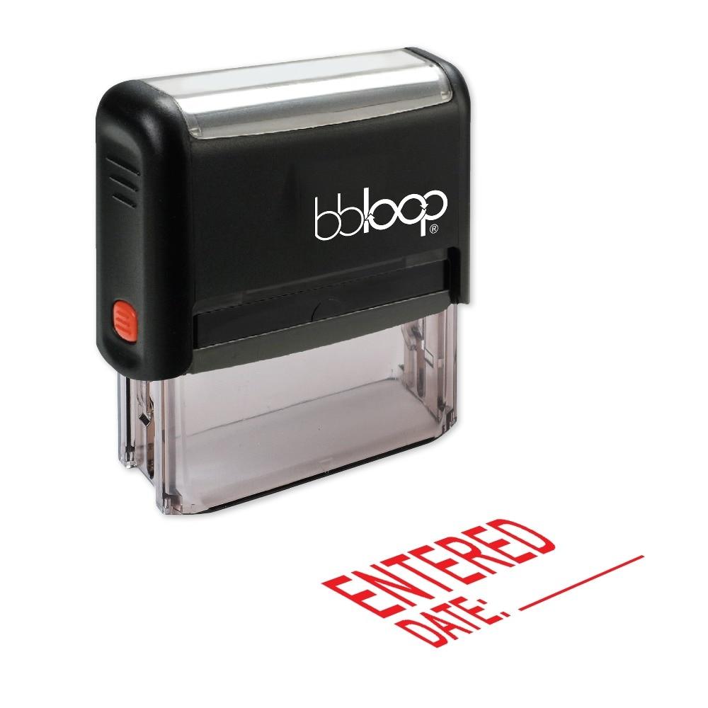 BBloop  W/дата линия самоокрашивающегося штамп, прямоугольные, лазерной гравировкой, красный