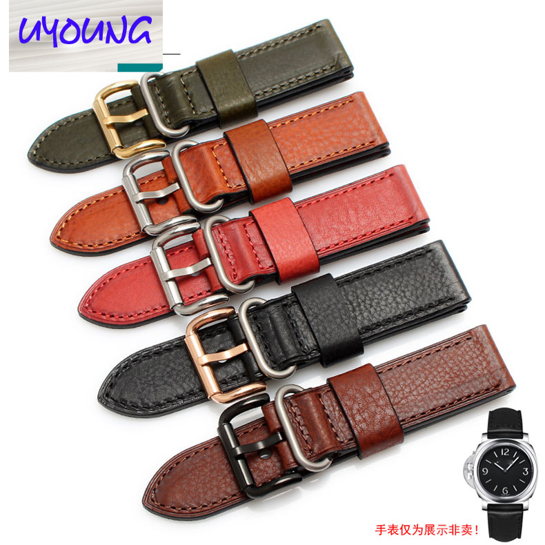 UYOUNG Vintage watch band with Italian thick-headed cow leather for jeep/PAM111 22 24mm black brown green new arrive top quality oil red brown 24mm italian vintage genuine leather watch band strap for panerai pam and big pilot watch